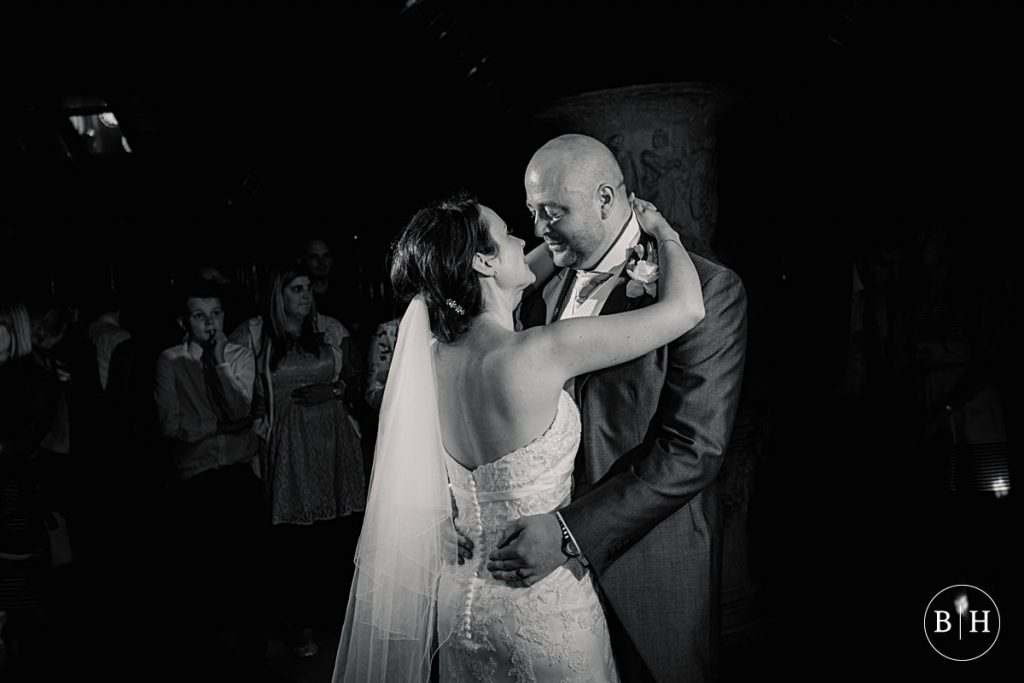 Bride and Groom's first dance at Waddesdon Dairy in Buckinghamshire. Taken by Becky Harley Photography