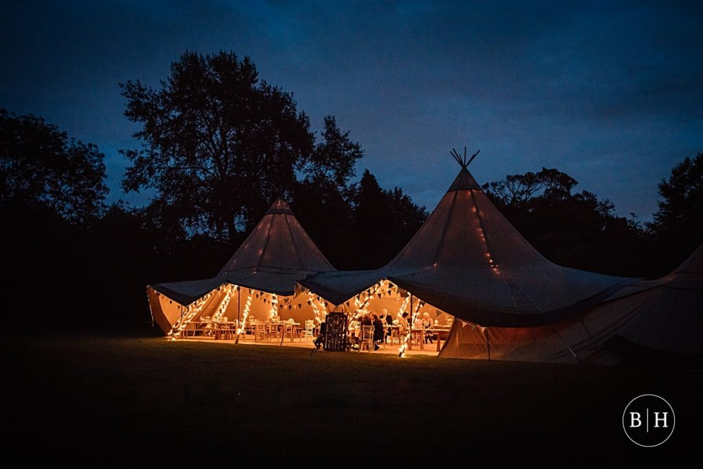 Tipi at night at Henry Moore Foundation Wedding taken by Becky Harley Photography