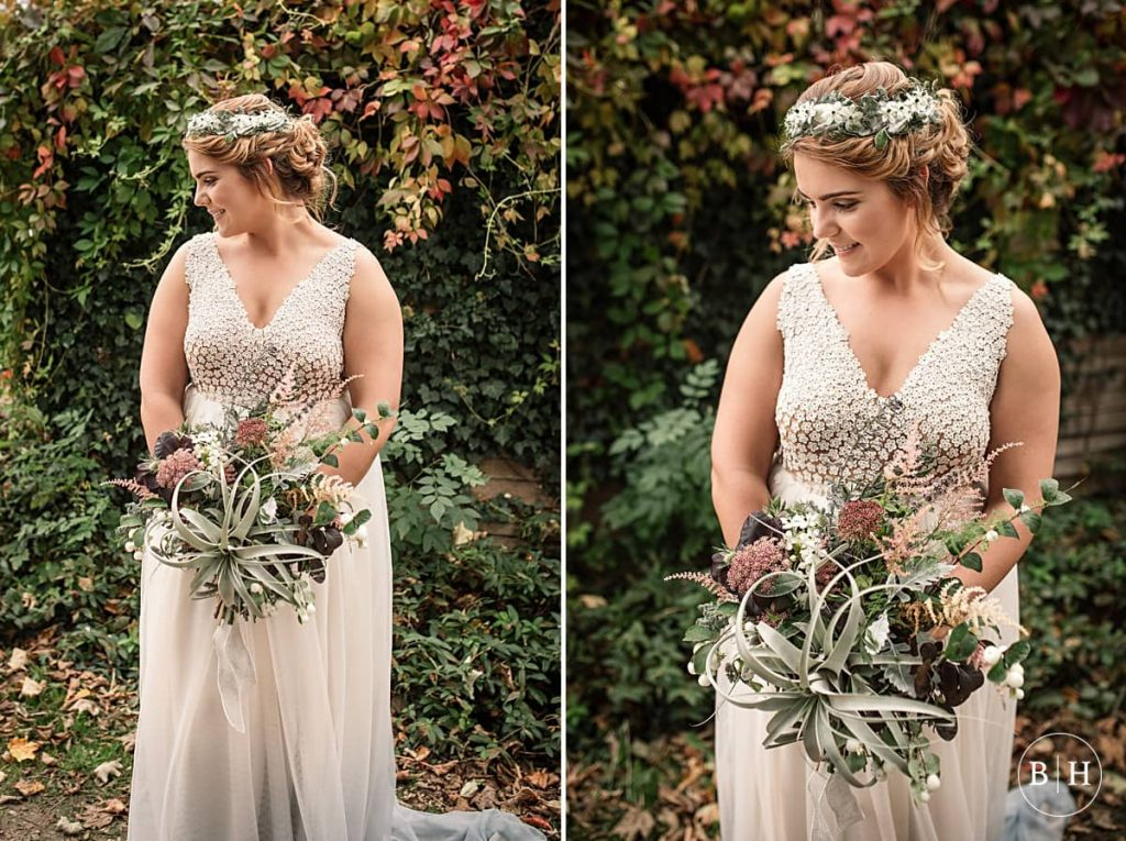 Bride and rustic bouquet taken by Becky Harley Photography