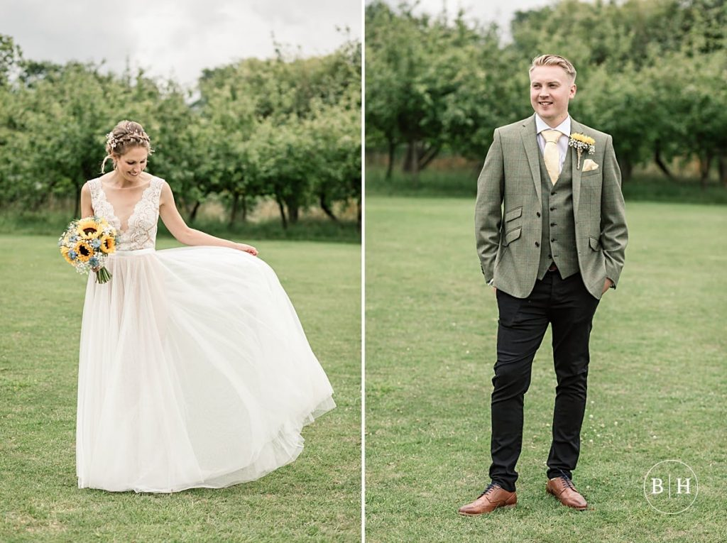 Portraits of bride and groom at the Henry Moore Foundation taken by Becky Harley Photography