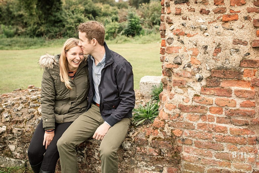 Engaged couple at Sopwell Nunnery in St Albans taken by Becky Harley Photography