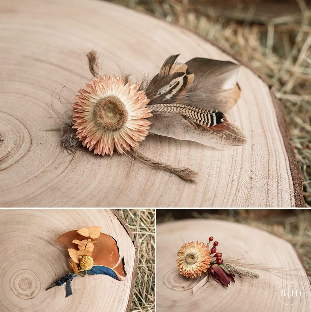 feather buttonholes taken by Becky Harley Photography