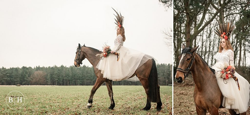 Tribal Wedding Bride on Horseback taken by Becky Harley Photography