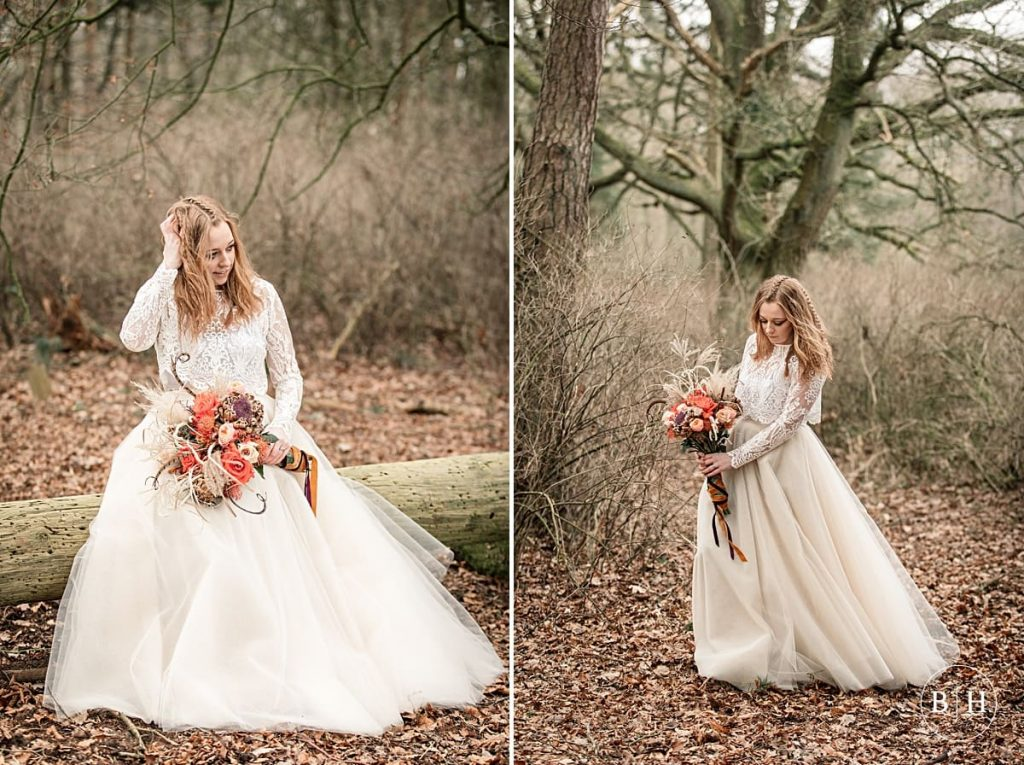 Tribal wedding bride in woodland taken by Becky Harley Photography
