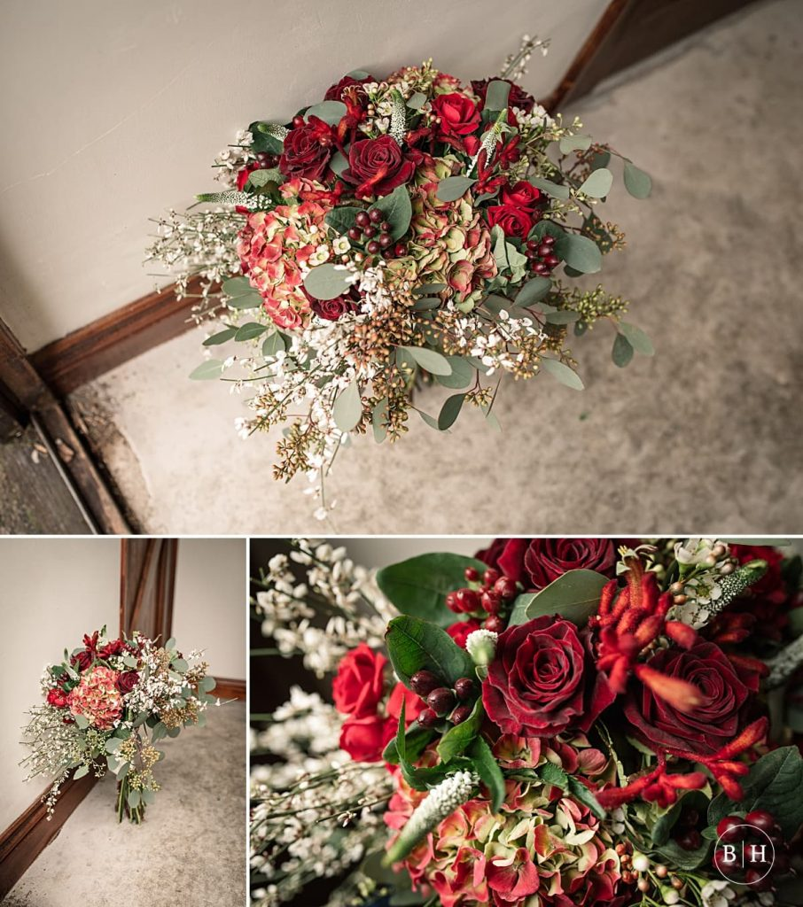 Gorgeous winter wedding bouquet by the Florist on the Green in Stevenage Old Town, aken by Becky Harley Photography
