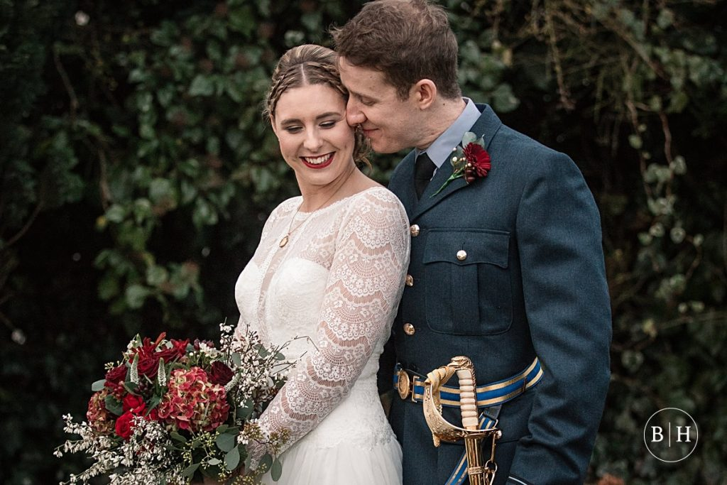 Bride and groom at Winter Milling Barn Wedding, aken by Becky Harley Photography