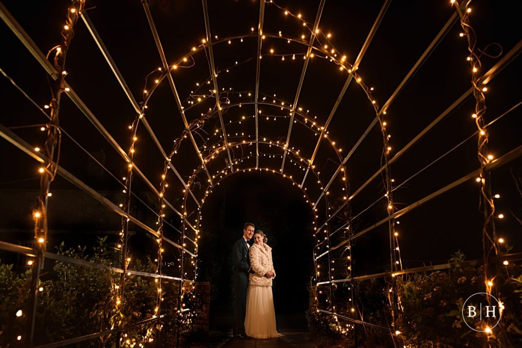 Wedding portrait with fairy lights at Milling Barn aken by Becky Harley Photography