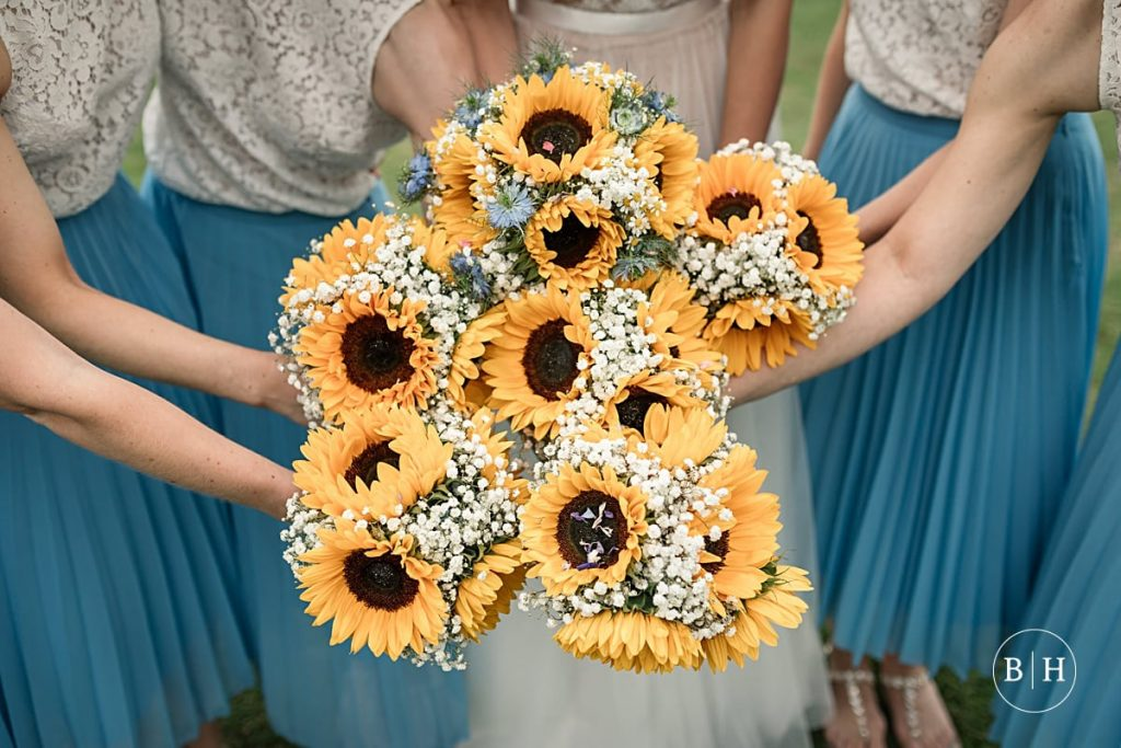 Sunflower wedding bouquet. How to book your wedding florist