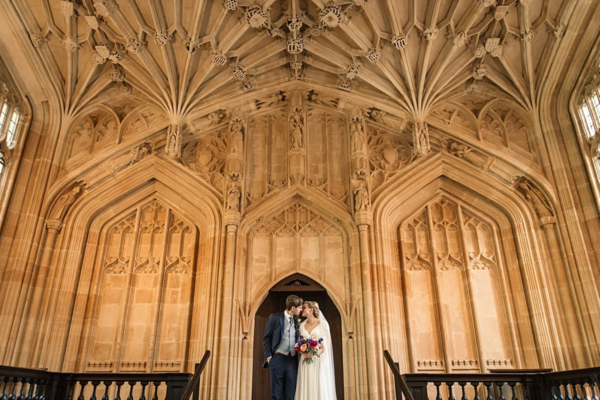 Wedding couple in Divinity Schools at Bodleian Library Wedding taken by Becky Harley Photography