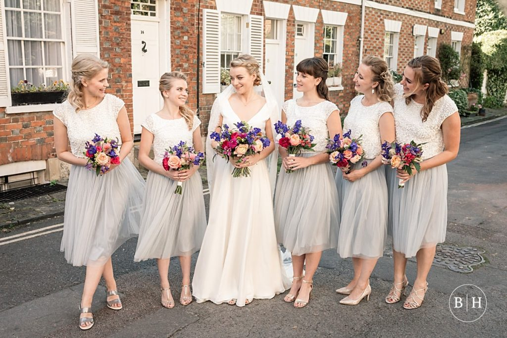 Bide and Bridesmaids at Bodleian Library Wedding taken by Becky Harley Photography
