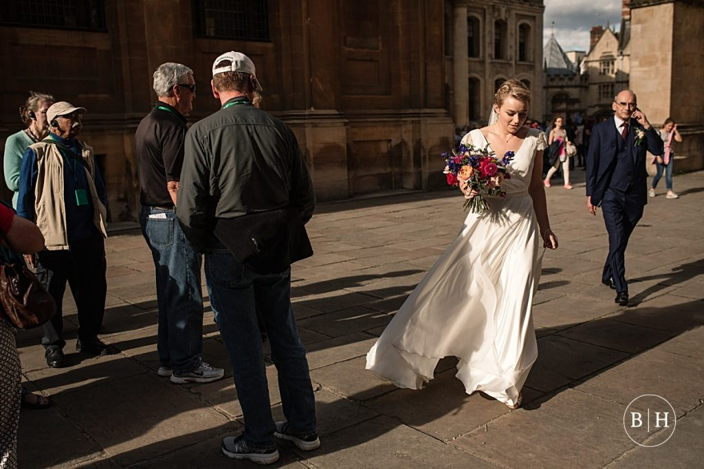 Bride arriving at Bodleian Library Wedding taken by Becky Harley Photography