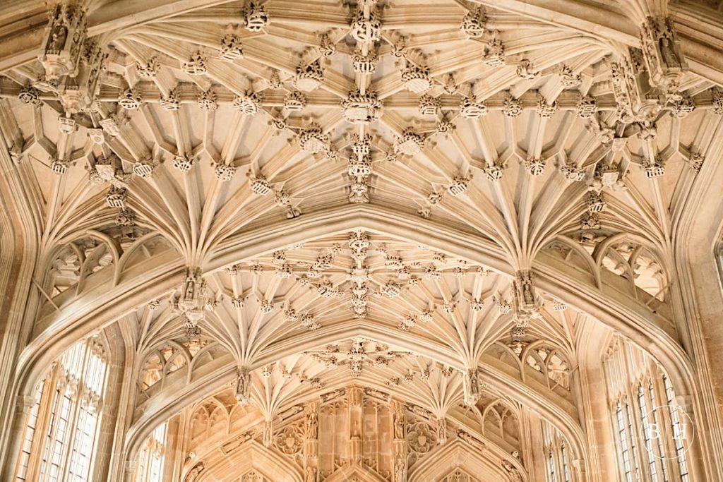 Ceiling of Divinity Schools at Bodleian Library Wedding taken by Becky Harley Photography