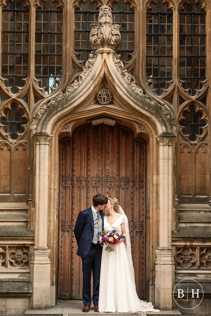 Bride and Groom by the Wren Door at Bodleian Library Wedding taken by Becky Harley Photography