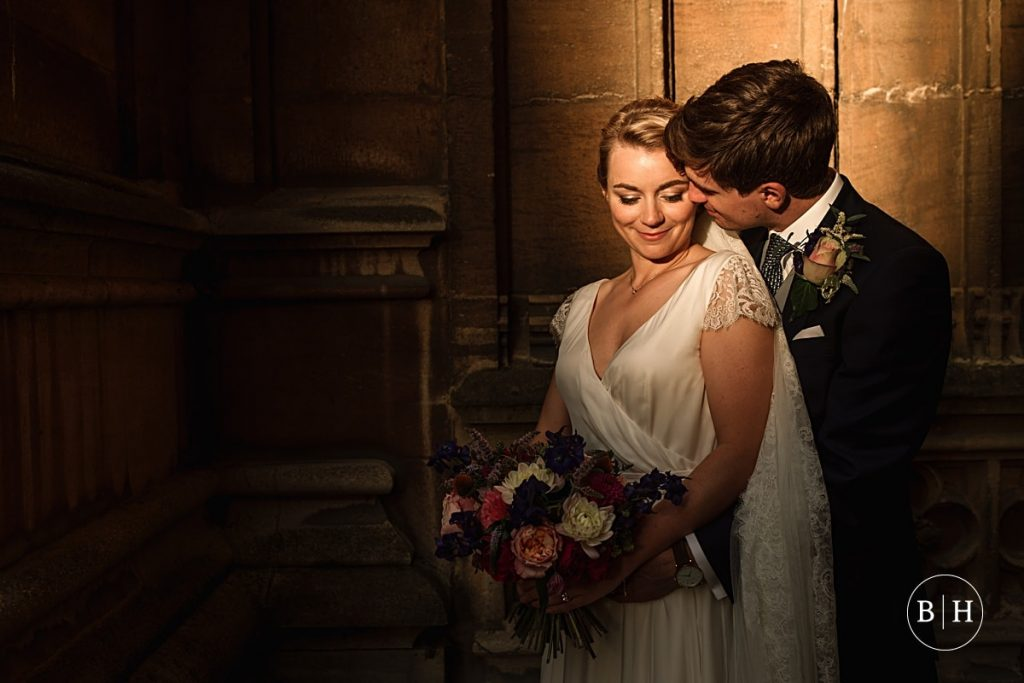 Bride and Groom at Bodleian Library Wedding taken by Becky Harley Photography