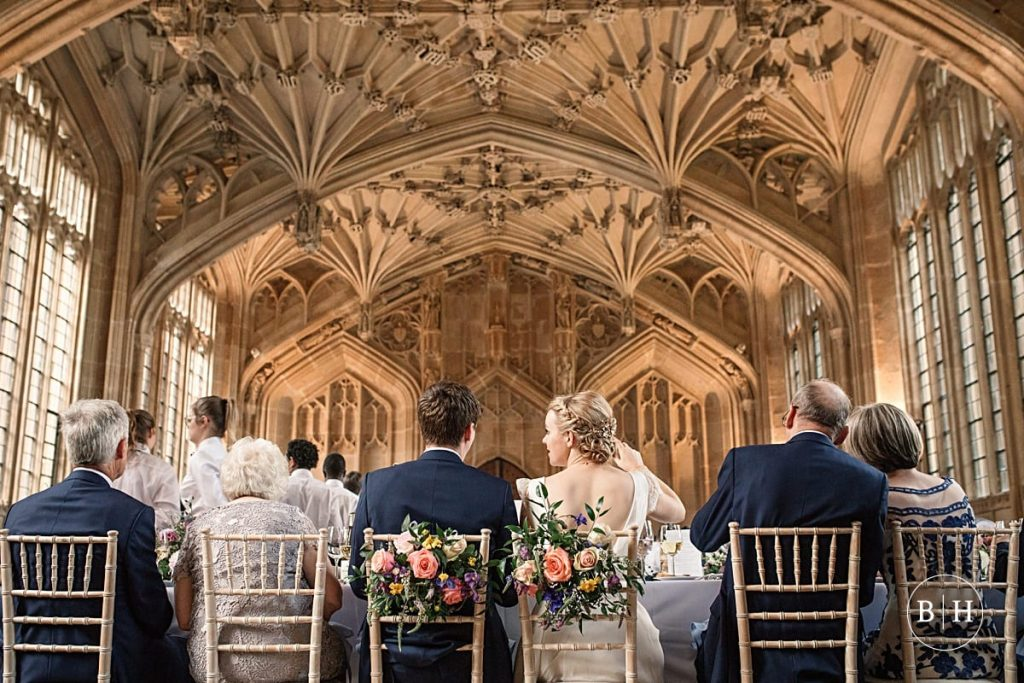Bride and groom at wedding reception at Bodleian Library Wedding taken by Becky Harley Photography