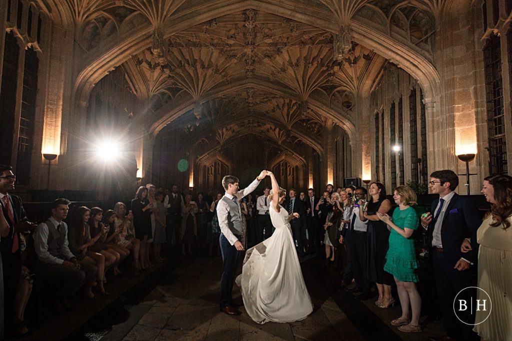Bride and Groom first dance at Bodleian Library Wedding taken by Becky Harley Photography