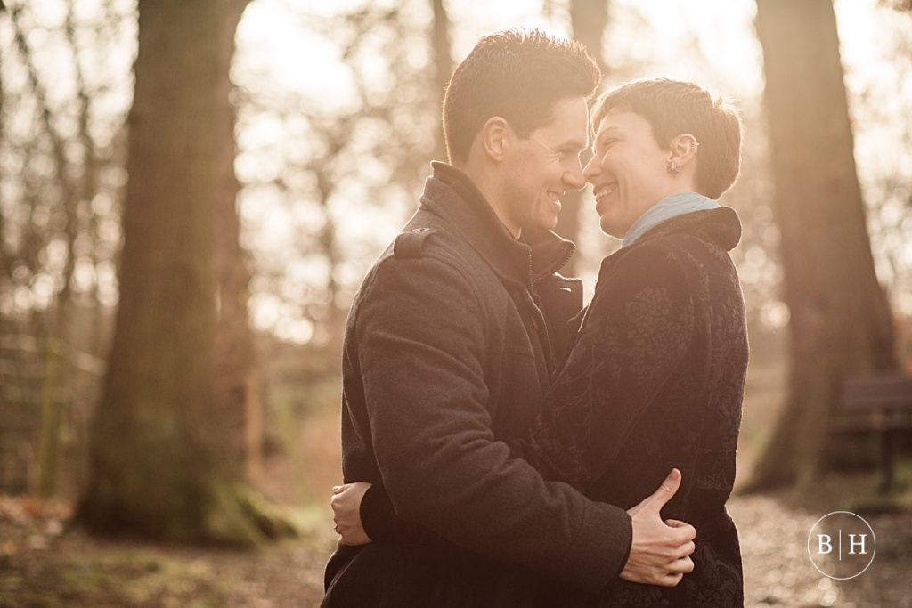 Engaged couple in the woods in London taken by Becky Harley Photography