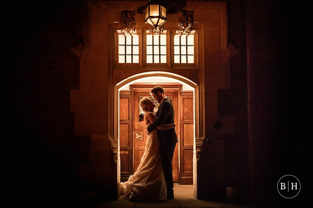 Evening shot of bride and groom at Pendrell Hall taken by Becky Harley Photography