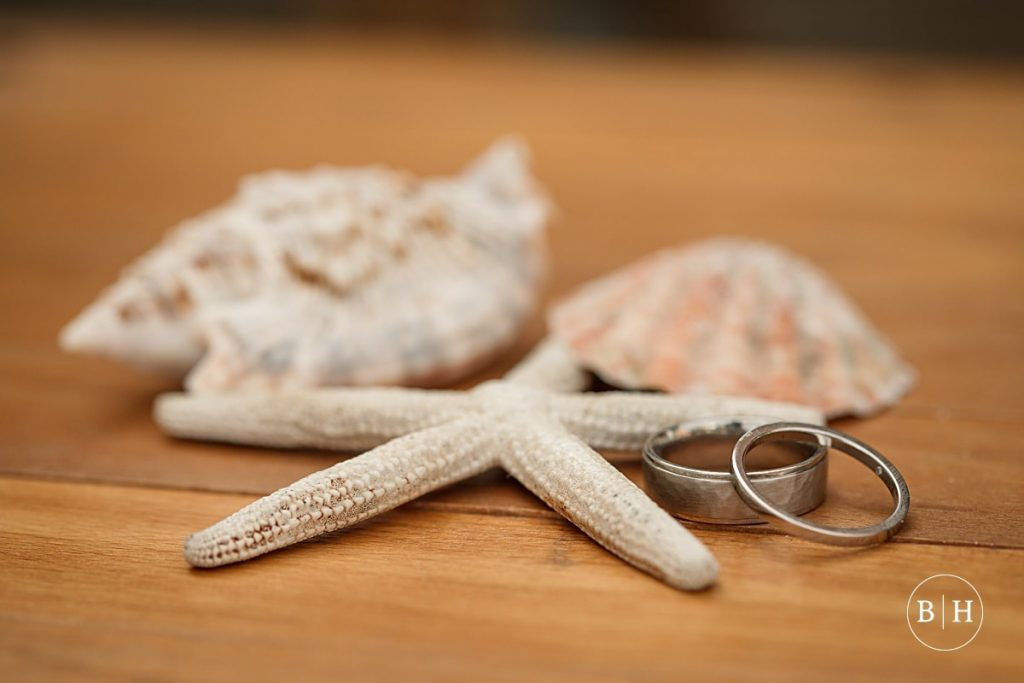 Wedding rings with seashells at Whitstable Wedding taken by Becky Harley Photography