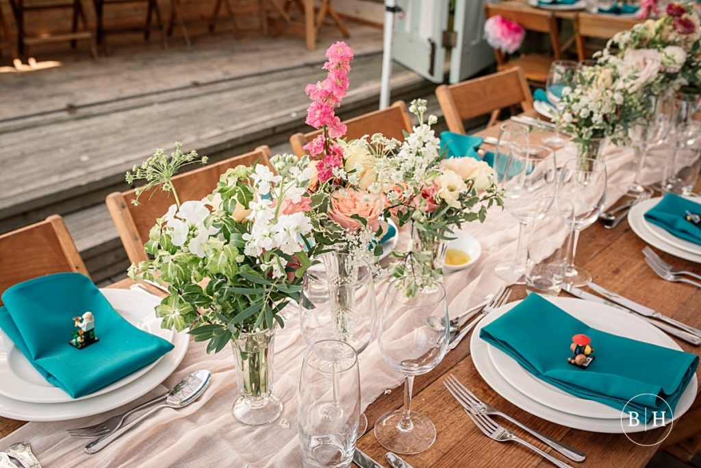 Table decor at Whitstable Wedding taken by Becky Harley Photography