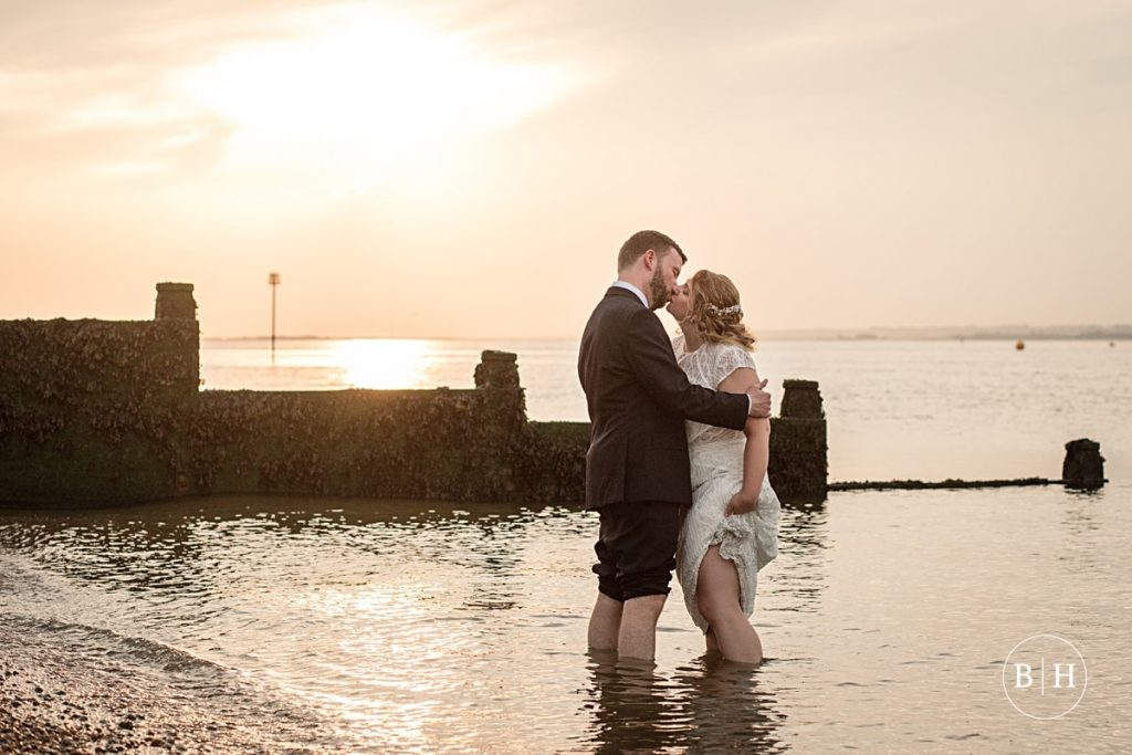 Bride and groom at Whitstable Wedding taken by Becky Harley Photography