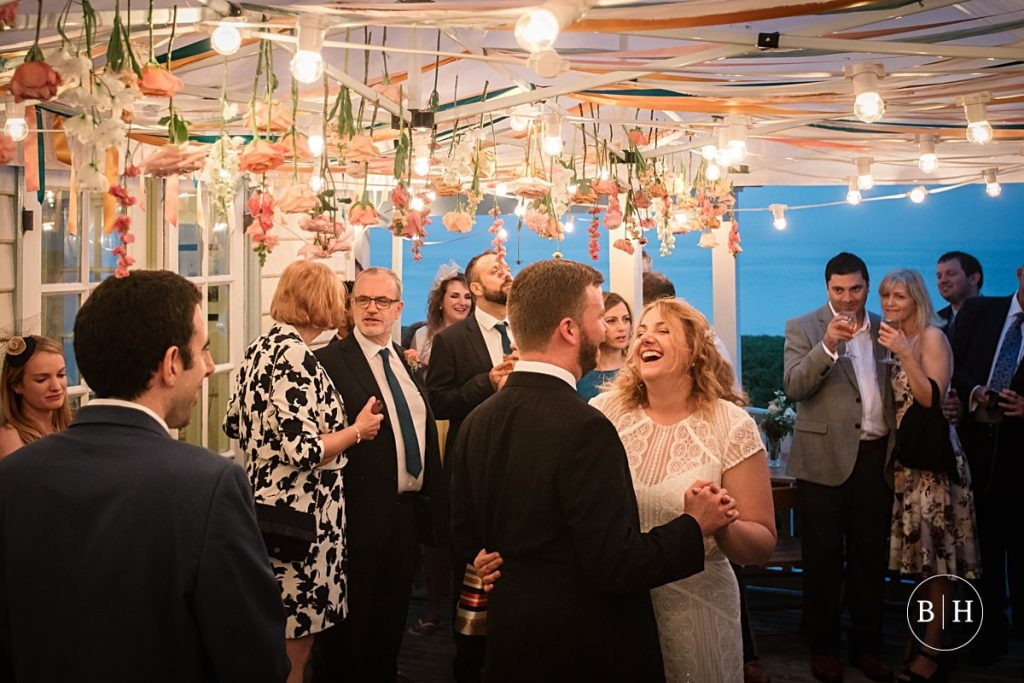 Bride and groom dancing at Whitstable Wedding taken by Becky Harley Photography