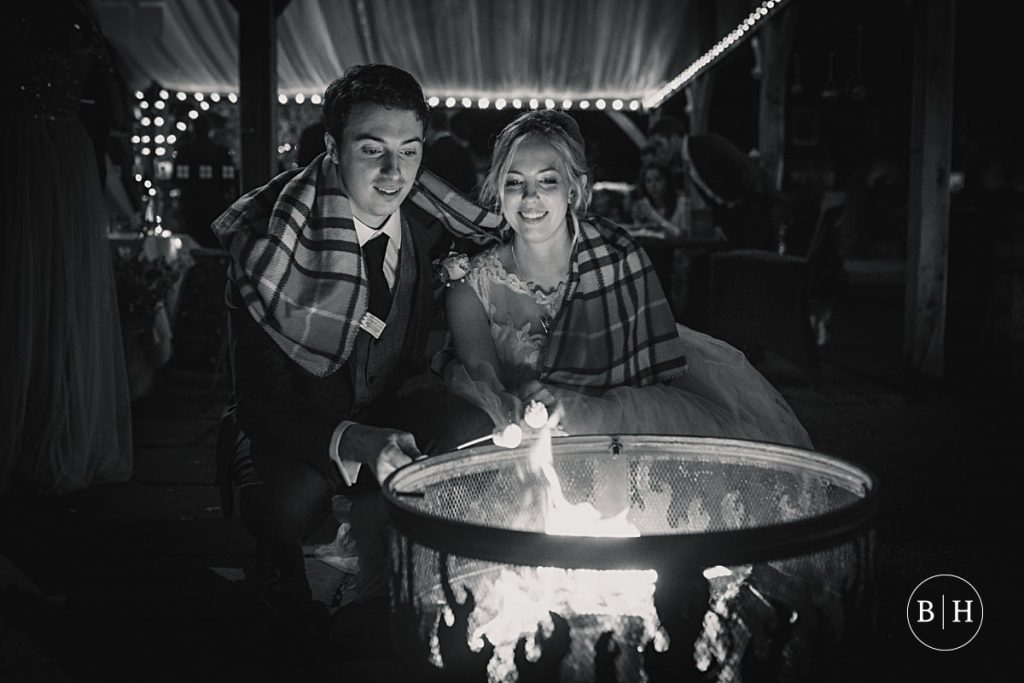 bride and groom with fire pit at Coltsfoot Country Retreat Wedding taken by Becky Harley Photography