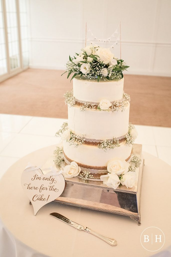 wedding cake at Riverside marquee wedding taken by Becky Harley Photography