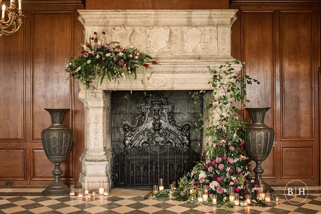 Floral installation at North Mymms Park  - North Mymms Park Wedding Photography, taken by Becky Harley Photography