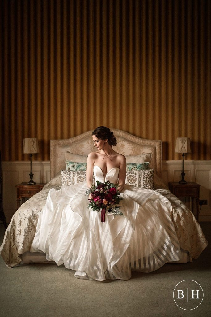 Bride in North Mymms Park bridal suite - North Mymms Park Wedding Photography, taken by Becky Harley Photography