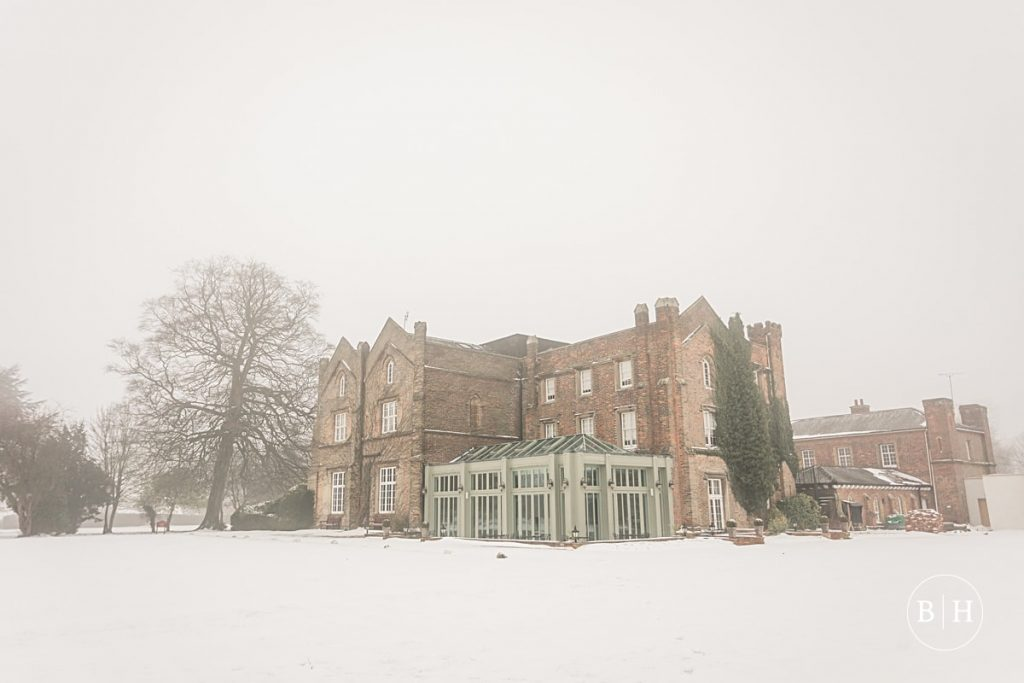 Offley Place, Hertfordshire in the snow, taken by Becky Harley Photography