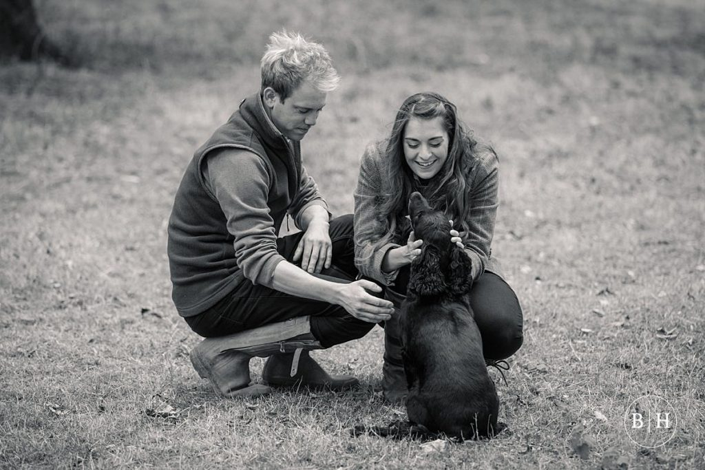 engaged couple and dog taken by Becky Harley Photography