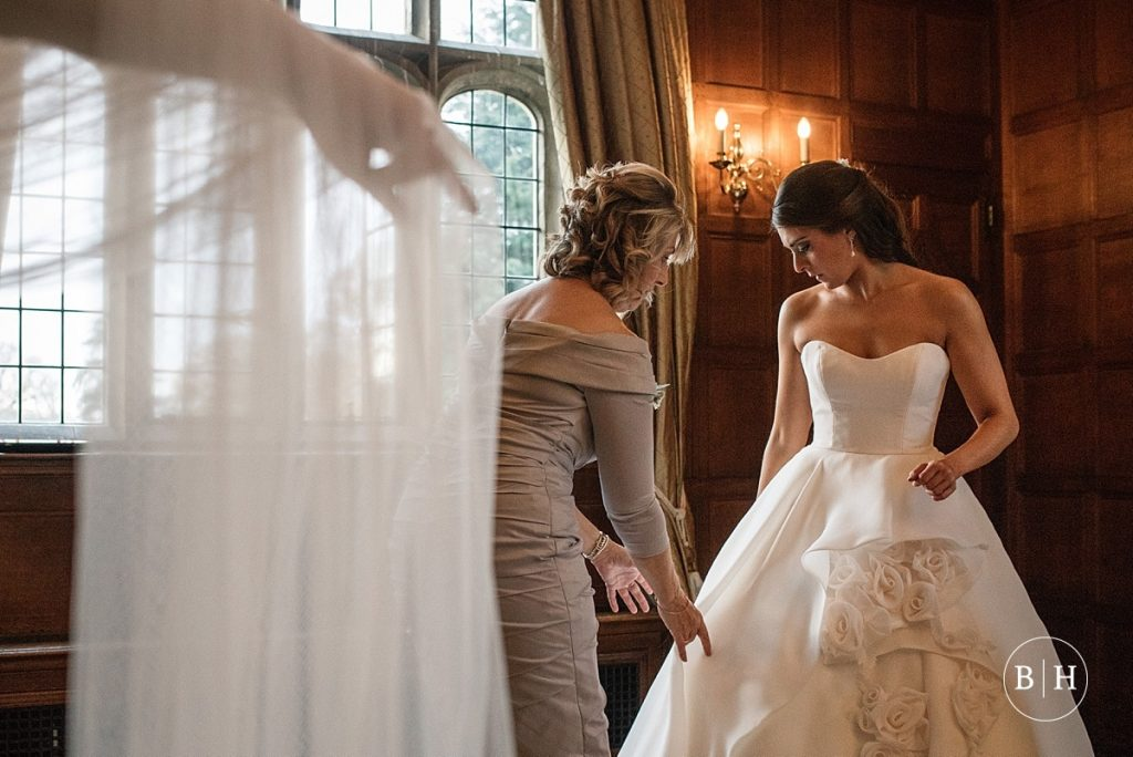 Bride getting ready at Hengrave Hall, taken by Becky Harley Photography
