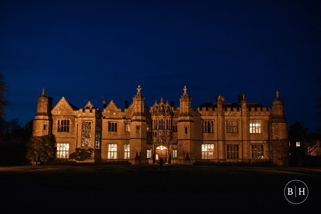 Hengrave Hall at night, taken by Becky Harley Photography