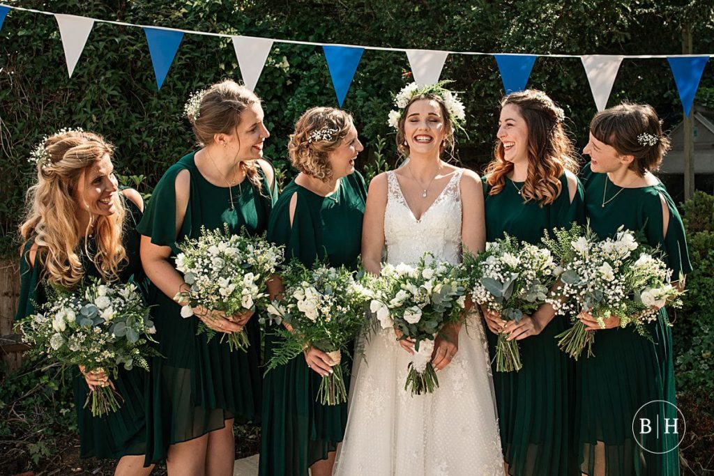 Bride and Bridesmaids at Offley Place Wedding taken by Becky Harley Photography