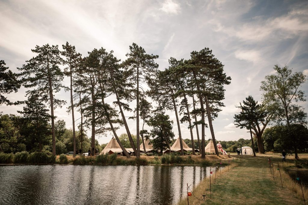 View from the island at Brook Farm Cuffley Wedding taken by Becky Harley Photography