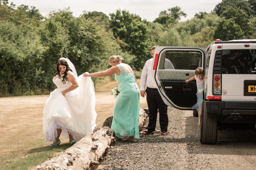 Bride arriving at Brook Farm Cuffley Wedding taken by Becky Harley Photography