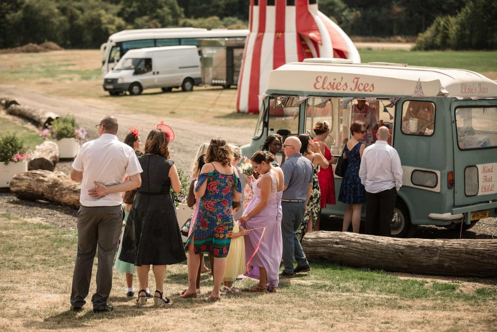 Ice cream van at Brook Farm Cuffley Wedding taken by Becky Harley Photography