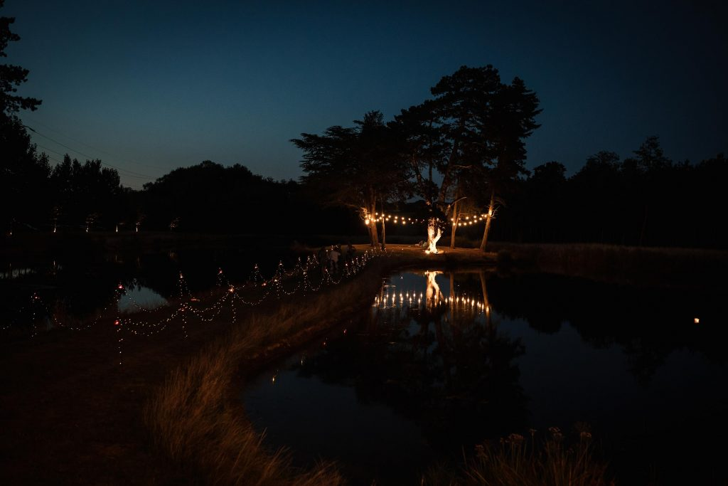 Island by night at Brook Farm Cuffley Wedding taken by Becky Harley Photography