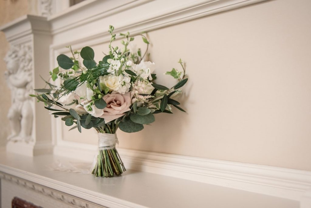 pink blush wedding bouquet at Down Hall wedding taken by Becky Harley Photography