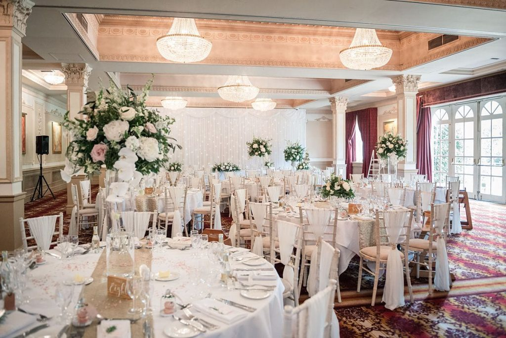 wedding reception room at Down Hall wedding taken by Becky Harley Photography