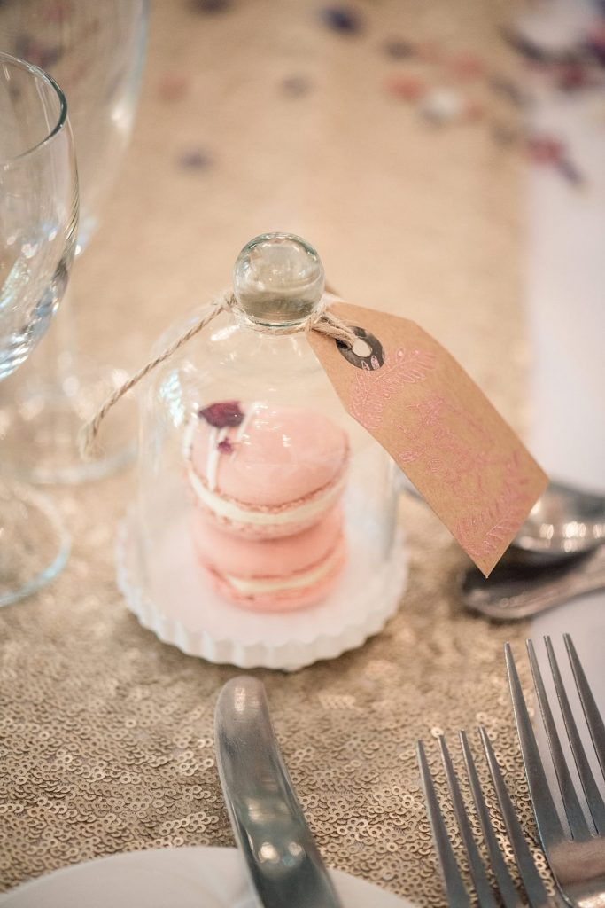macaroon wedding favours at Down Hall wedding taken by Becky Harley Photography