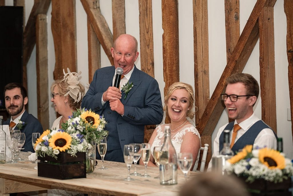 father of the bride speech at summer Milling Barn wedding, taken by Becky Harley Photography
