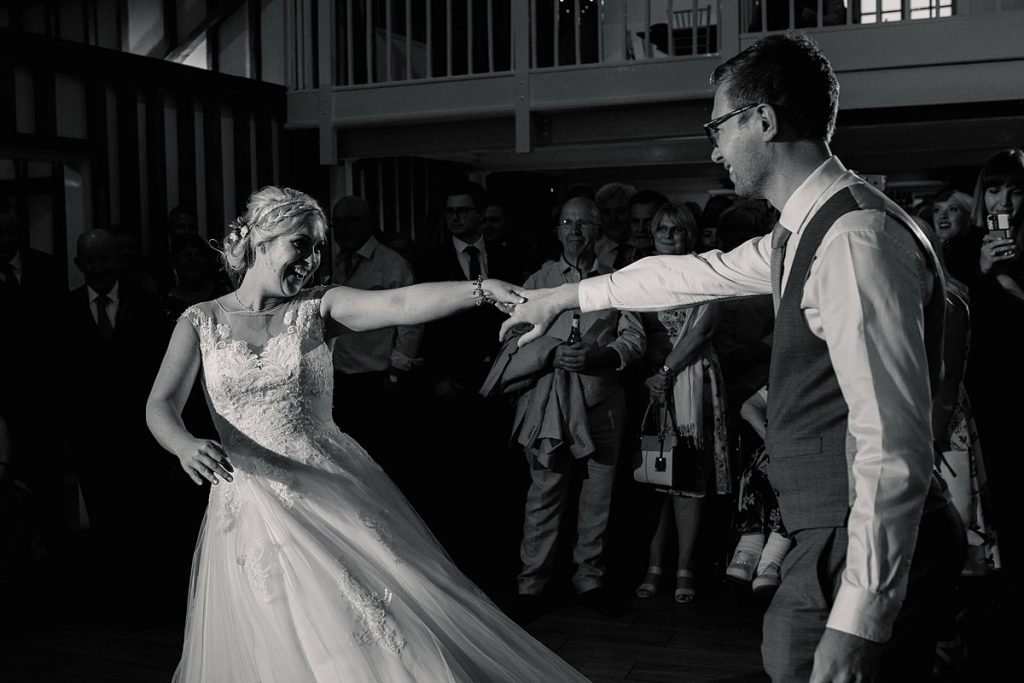 bride and groom first dance at summer Milling Barn wedding, taken by Becky Harley Photography