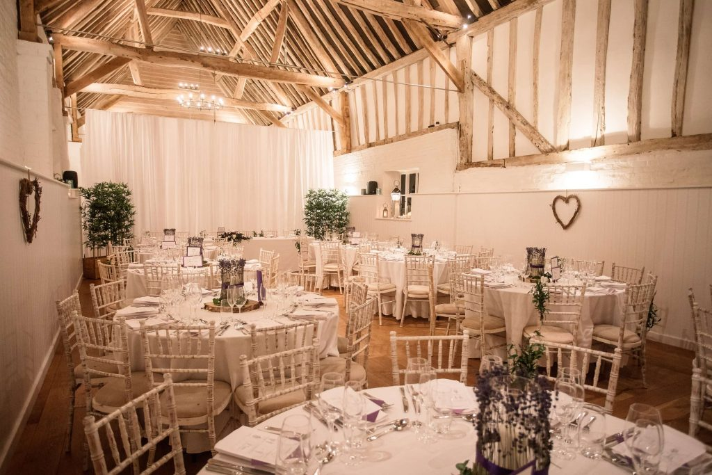 Alswick Barn set up for wedding breakfast at Alswick Barn wedding in Buntingford, taken by Becky Harley Photography