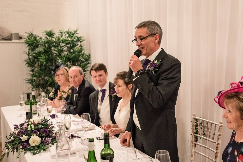 Father of the Bride making a speech at Alswick Barn wedding in Buntingford, taken by Becky Harley Photography