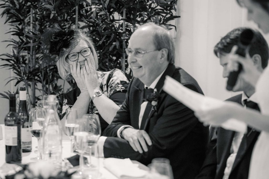 Mother of the groom speech reaction at Alswick Barn wedding in Buntingford, taken by Becky Harley Photography