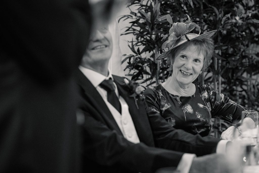 Mother of the bride speech reaction at Alswick Barn wedding in Buntingford, taken by Becky Harley Photography