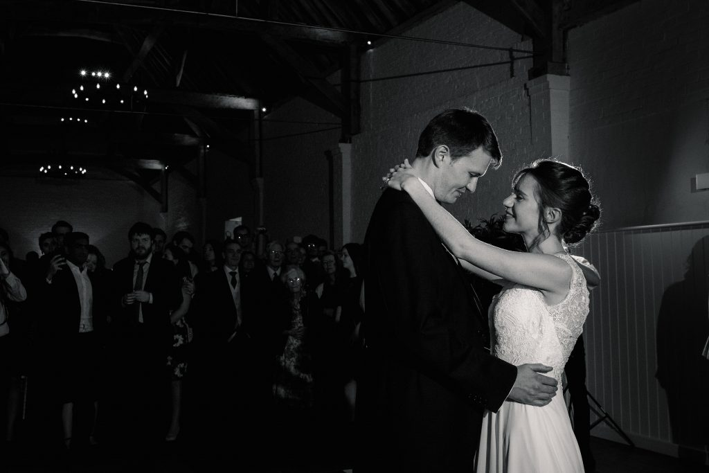 Bride and Groom's first dance at Alswick Barn wedding in Buntingford, taken by Becky Harley Photography