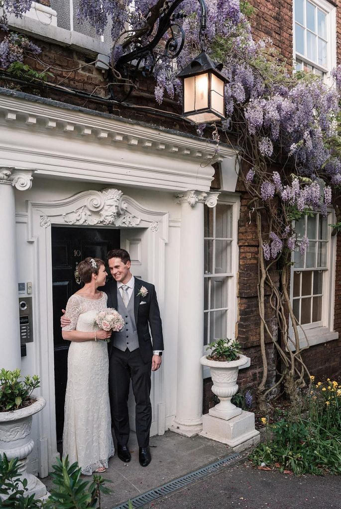 Bride and Groom at London Springtime wedding taken by Becky Harley Photography